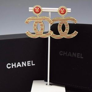 "Nearly NWOTs Red & Gold-tone ""CC"" Chanel Earrings"